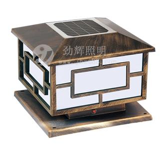 太阳能柱头灯由太阳能板,超高亮led灯(光源),免维护可充电蓄电池,自动